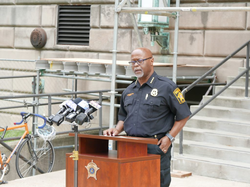 Sheriff Earnell Lucas speaking at a press conference on June 26th, 2020. Photo by Graham Kilmer.