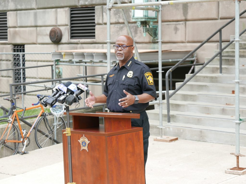 Sheriff Earnell Lucas speaking at a press conference on June 26th, 2020. File photo by Graham Kilmer.