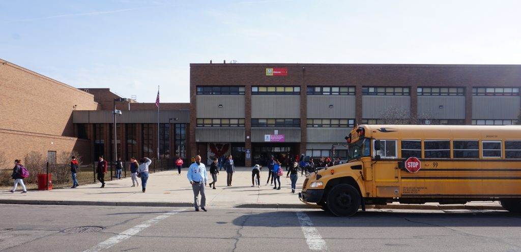 """The school district will no longer """"buy or maintain criminalizing equipment"""" such as metal detectors. South Division High School, 1515 W. Lapham Blvd., is one of many area high schools that have walk-through metal detectors at the main entrance. File photo by Andrea Waxman/NNS."""