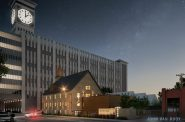 Rendering of 202 W. Scott St. in the shadow of Rockwell Automation clock tower. Rendering by John Van Rooy Architecture.