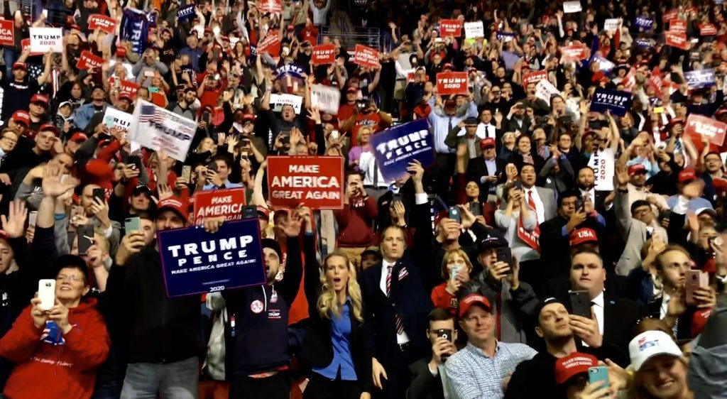 Donald Trump holding a rally in Green Bay, Wisconsin, April 27th, 2019. (Public Domain).