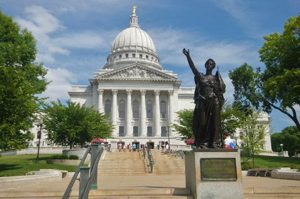 Forward statue at the Wisconsin Capitol in 2014. File photo by F McGady / CC BY-SA (https://creativecommons.org/licenses/by-sa/4.0)