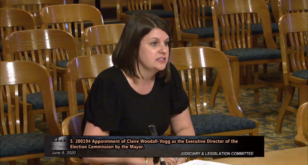 Claire Woodall-Vogg appears before the Common Council's Judiciary and Legislation Committee in June 2020. Image from City Channel.
