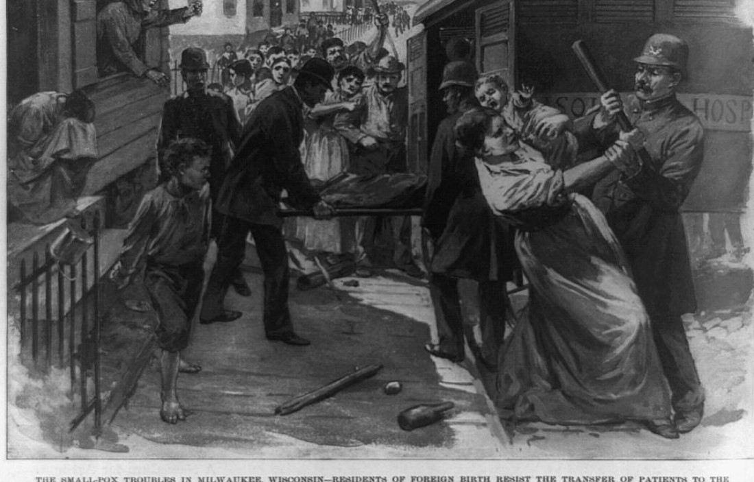 An illustration by Georgina A. Davis, based on a sketch supplied by Fred Dougherty, depicts Milwaukee residents resisting the transfer of smallpox patients to Isolation Hospital in 1894. Georgina A. Davis and Fred Dougherty/Library of Congress. https://www.loc.gov/resource/cph.3b45199/