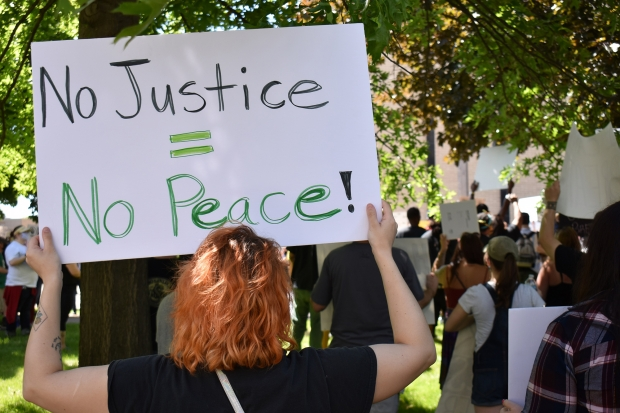 Protesters gathered in Wausau on Saturday, June 6, 2020 to raise awareness for Black Lives Matter and the killing of Minneapolis man George Floyd while in police custody. Rob Mentzer/WPR