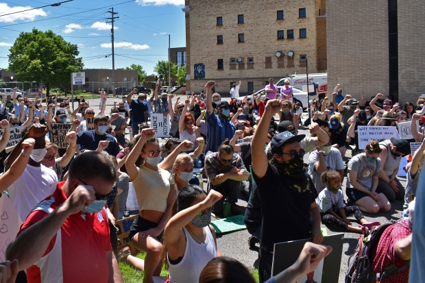Protesters rally in front of Wausau's City Hall on Saturday, June 6, 2020. Rob Mentzer/WPR