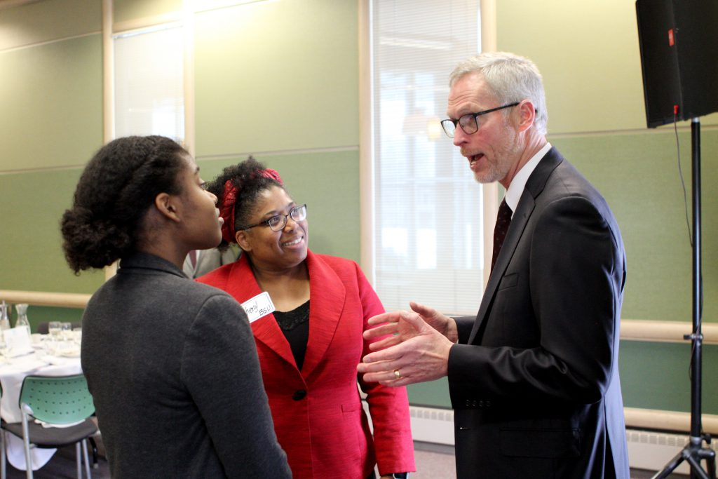 UA President Jim Johnsen speaks with University of Alaska students. Photo courtesy of UAA.