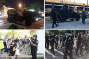 Clockwise from top left - City of Waukesha MRAP, state police BearCat, police officers in riot gear marching, officers with batons defend MPD HQ. Photos by Jeramey Jannene.