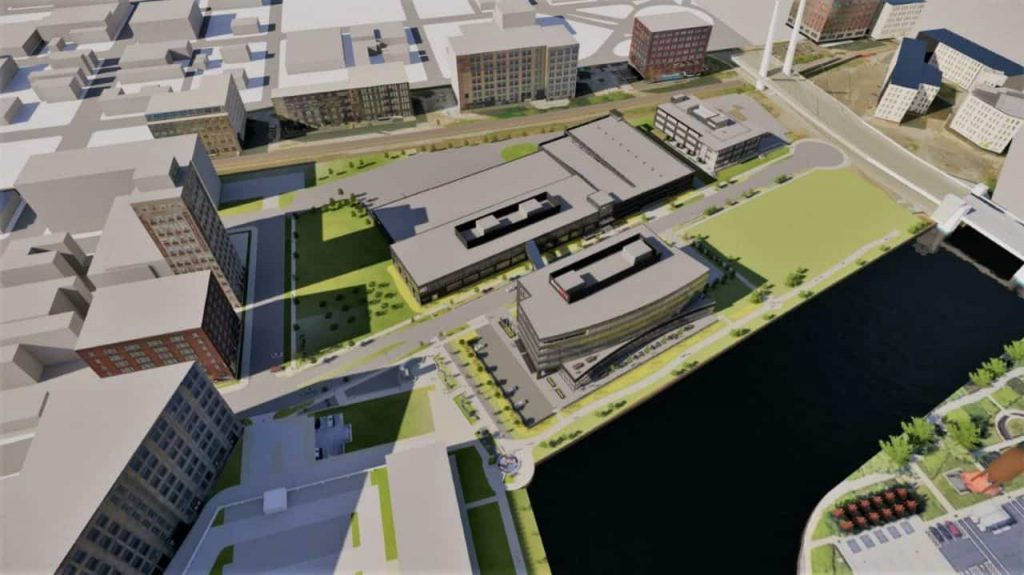 Rite-Hite campus rendering in the Reed Street Yards. Rendering by Eppstein Uhen Architects.