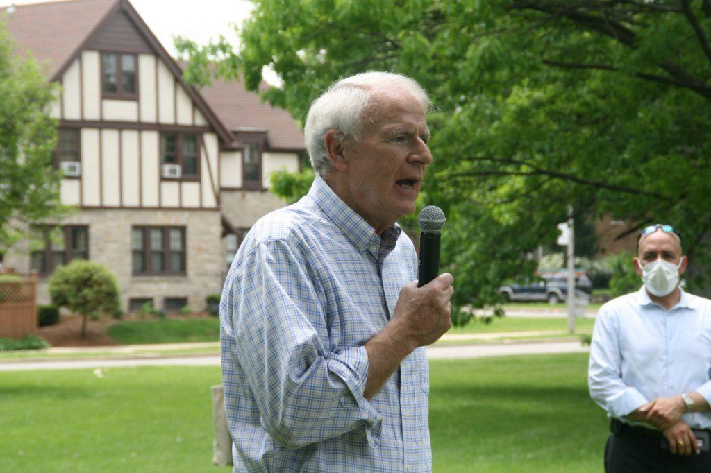 Mayor Barrett speaking at a June 5th, 2020 protest march. File photo by Jeramey Jannene.