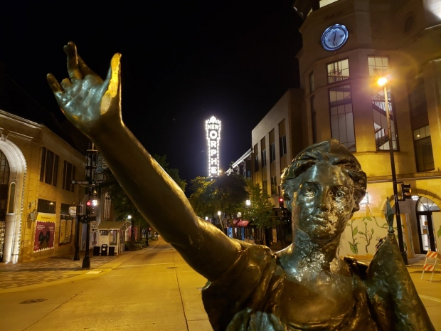 The Forward statue was removed from its pedestal by protesters at the state Capitol on Tuesday night, June 23, 2020. Shawn Johnson/WPR