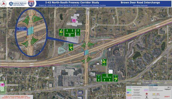 Interchange at Brown Deer Road. Map by WisDOT.