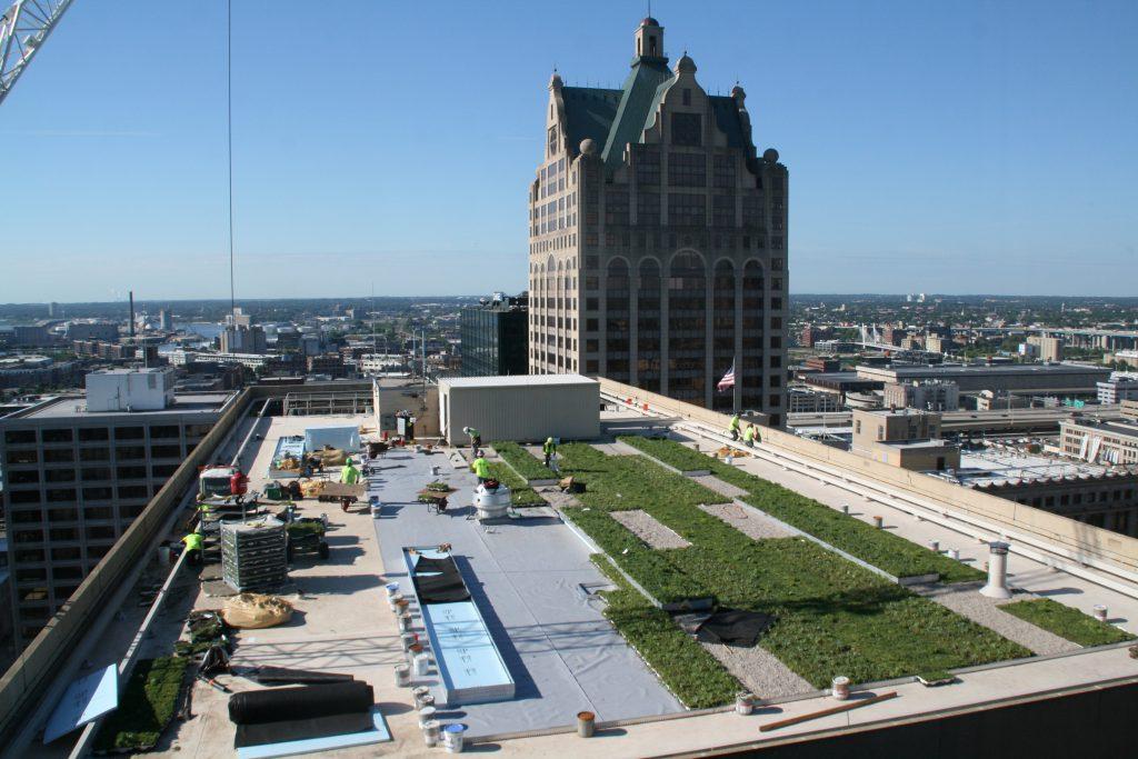 Green roof installation at 770 North. Photo by Jeramey Jannene.