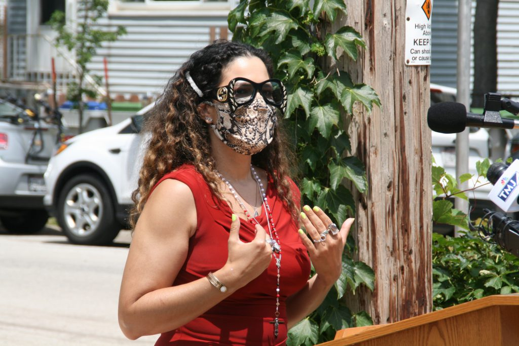 Milwaukee Health Commissioner Jeanette Kowalik at the mask mandate signing ceremony. Photo by Jeramey Jannene.