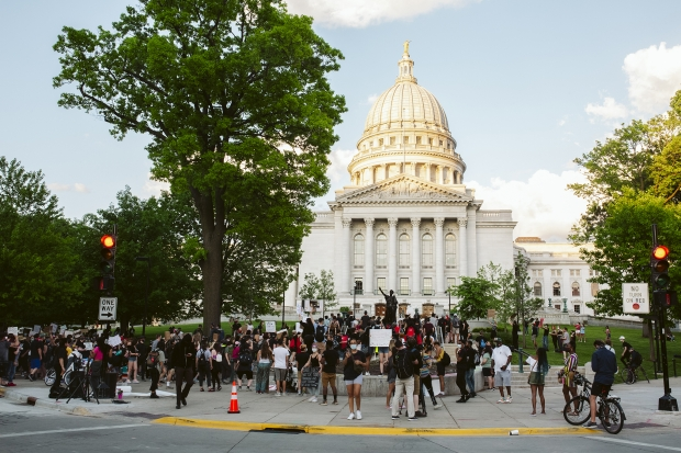 Demonstrators gather at the Wisconsin state Capitol in Madison, Wis. on June 3, 2020, to speak out against police violence and celebrate black culture. Keni Rosales/WPR