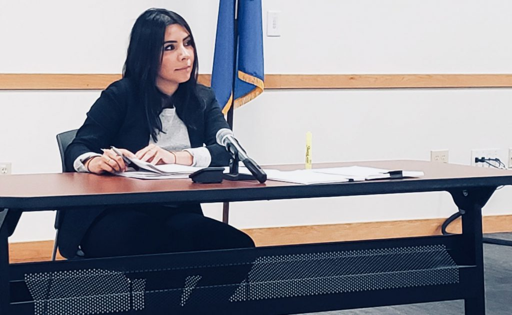 """""""I faced a lot of opposition. I was a new leader with new ideas,"""" says Griselda Aldrete, who withdrew her name from consideration to be reappointed as executive director of the Fire and Police Commission. Photo by Edgar Mendez/NNS."""