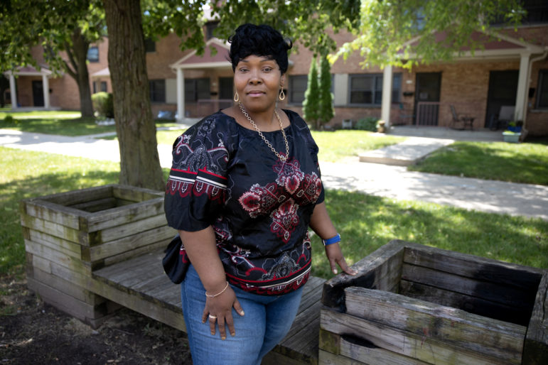 Alfreida Casterlow lost her job in April with Northwestern Mutual, which she held through the staffing agency Kforce. She immediately applied for unemployment, but has been waiting since April 24 for an adjudicator with the state Department of Workforce Development to resolve her claim. She currently owes more than $2,000 in back rent and late fees. She has no guarantee her unemployment claim will be approved, though a recent call gave her hope. She is seen near her home in Milwaukee on June 23, 2020. Photo by Coburn Dukehart/Wisconsin Watch.