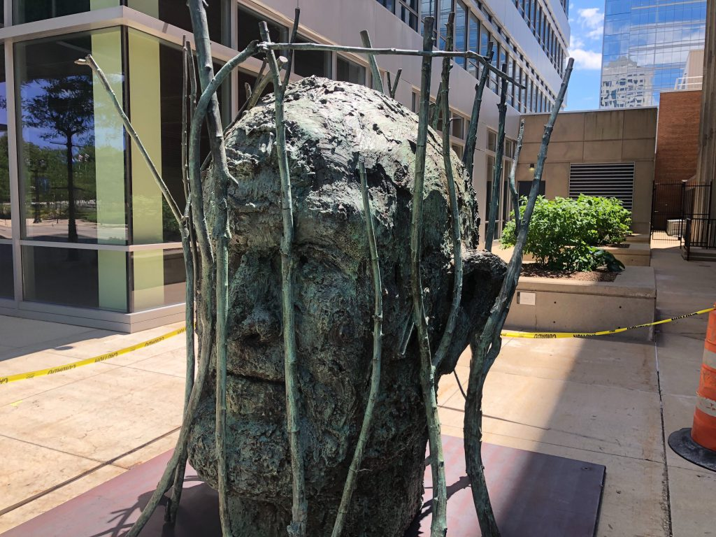 """Jim's Head with Branches"" by Jim Dine outside 875 E. Wisconsin Ave. Photo by Jeramey Jannene."