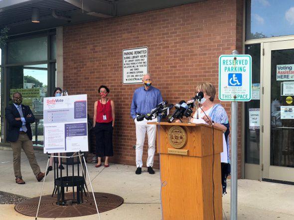 Paula Kiely speaks at today's press conference. Photo by Jeramey Jannene.