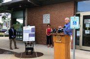 Mayor Tom Barrett speaks at today's press conference. Photo by Jeramey Jannene.