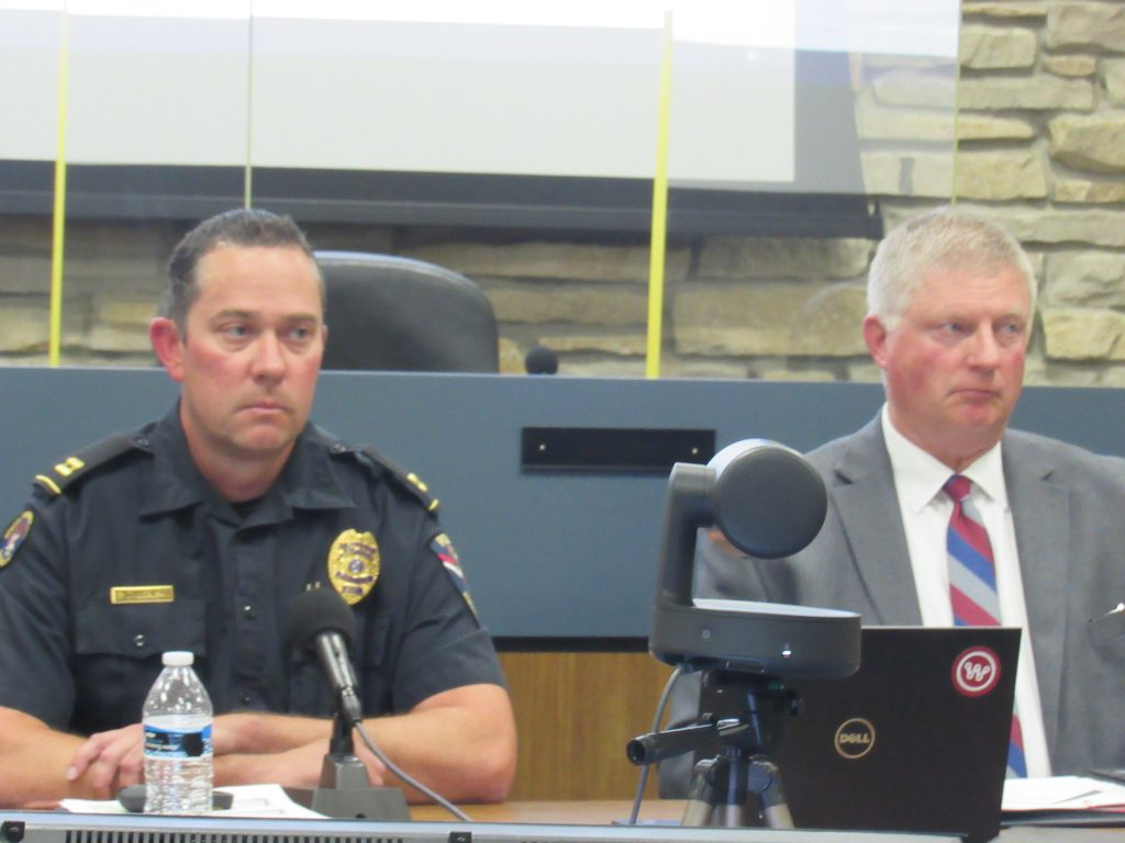 Wauwatosa police Captain Brian Zalewski (left) and Chief Barry Weber (right). Photo by Isiah Holmes/Wisconsin Examiner.