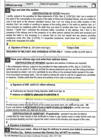 Thousands of Wisconsin voters who cast absentee ballots in the April 7 presidential primary failed to fill out required information on the absentee ballot envelope, including voter signature, the signature of the person witnessing the ballot and the address of the witness, an analysis by APM Reports finds. Here, the rejected ballot of a voter in Cedarburg, Wis. is missing all of the required information.