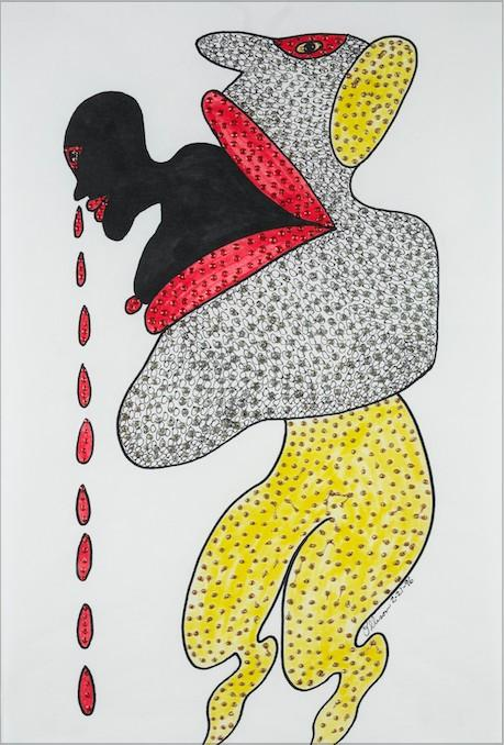 Rosemary Ollison, Untitled, 1996, ink and glitter on paper, Courtesy of the Portrait Society Gallery
