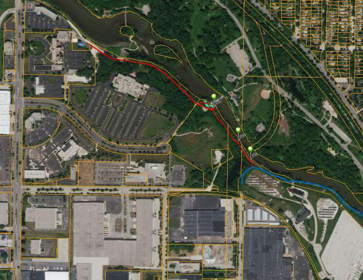 New trail shown in red. Map from the River Revitalization Foundation.