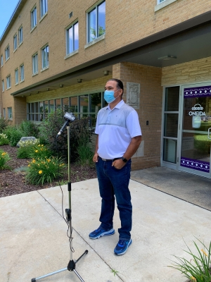 Oneida Nation Chairman Tehassi Hill spoke to reporters Monday, July 13, 2020, after the NFL team from Washington D.C. announced it would change its name, which had long been deemed offensive to American Indians. Photo by Megan Hart/WPR/