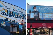 """In-progress """"Ride a Bike Around Milwaukee"""" mural and finished """"Respect"""" mural. Photos by Jeramey Jannene."""