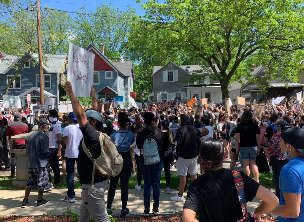 On May 30, 2020, Black Lives Matter protesters gather outside the house on Madison's east side where Tony Robinson was shot and killed by a police officer on March 6, 2015. Bridgit Bowden/WPR.