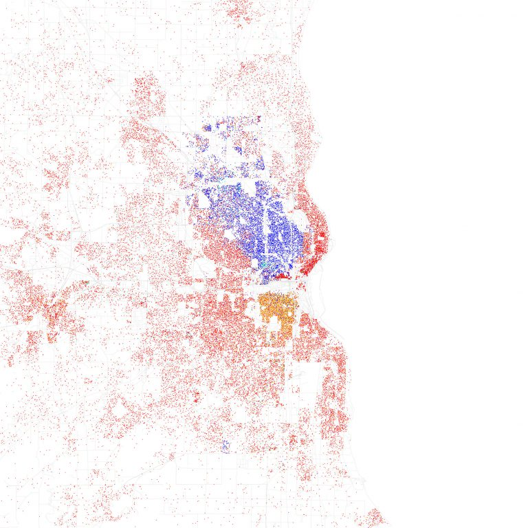 Known as a racial dot map, this graphic depicts racial segregation present in the Milwaukee metropolitan area. Each dot represents 25 people, with red dots for white residents, blue for Black residents, green for Asian residents, orange for Hispanic residents and yellow standing for residents of other racial backgrounds. It is based on 2010 U.S. Census data. Map by Eric Fischer (CC BY-SA 2.0) https://creativecommons.org/licenses/by-sa/2.0/