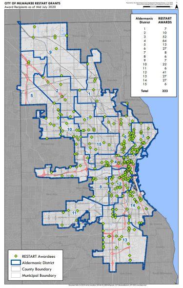 Restart grant award winner maps. Image from the City of Milwaukee.