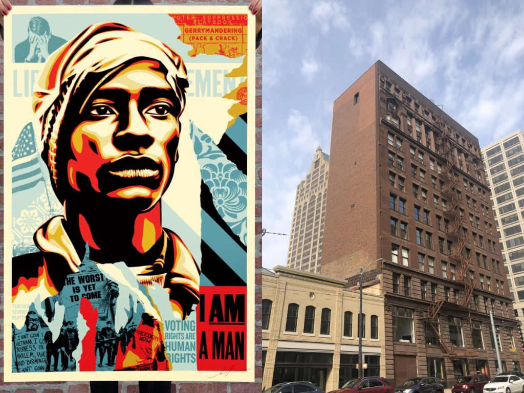 Voting Rights are Human Rights (left), the Railway Exchange building. Images by Shepard Fairey, Stacey Williams-Ng.