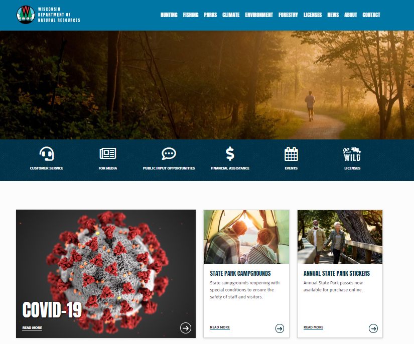 The DNR's new website focuses on ease of use for customers. / Photo Credit: Wisconsin DNR