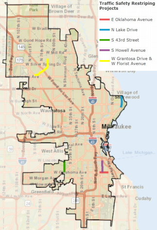 Map of planned road diets. Image from Milwaukee DPW.