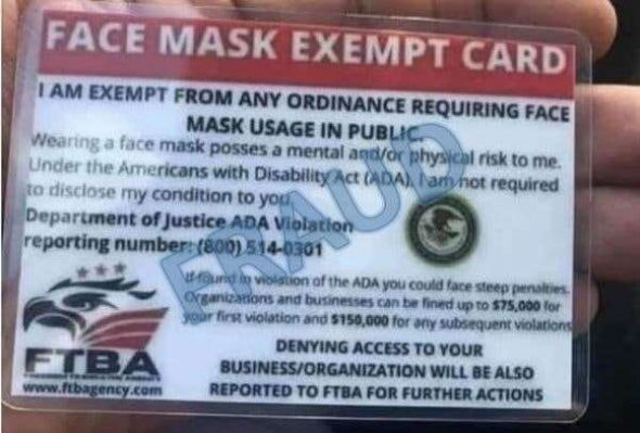 Mask exemption cards are fake. Photo courtesy of the Wisconsin Better Business Bureau.