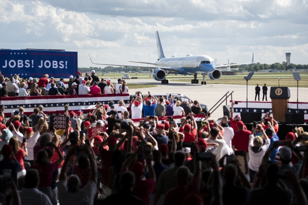 Air Force One lands in Oshkosh before a speech from President Donald Trump on Monday, Aug. 17, 2020. Angela Major/WPR