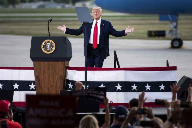 President Donald Trump approaches the lectern on Monday, Aug. 17, 2020. Angela Major/WPR