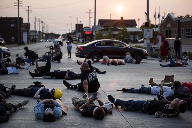 Protesters stage a die-in for seven minutes Tuesday, Aug. 25, 2020, in Kenosha. Angela Major/WPR