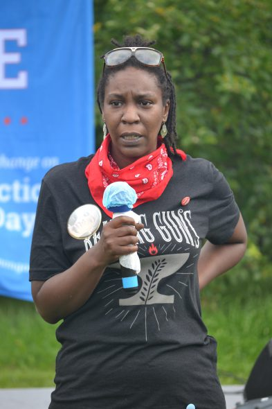Camille Mays speaks at the Red Letter Christians Revival in the Garden in Milwaukee on Saturday, Aug. 15. Photo by Erik Gunn/Wisconsin Examiner.