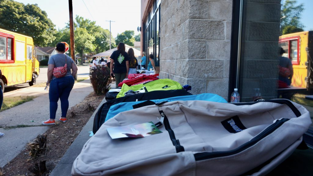 Safe and Sound partnered with Owen's Place, 4510 W. Fond du Lac Ave., for a back-to-school drive-through giveaway on Wednesday, Aug. 19. Photo by Bridget Fogarty/NNS.