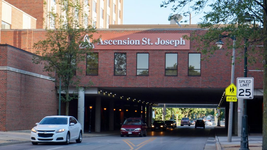 About 55% of Ascension St. Joseph Hospital patients are covered by Medicaid, and an additional 5% have no insurance. File photo by Andrea Waxman/NNS.