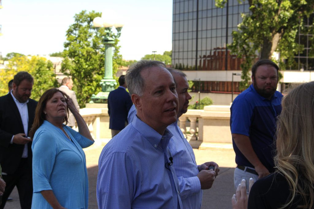 Robin Vos answers questions on June 24 after protesters tore down statues outside the state capitol. Photo by Henry Redman/Wisconsin Examiner.