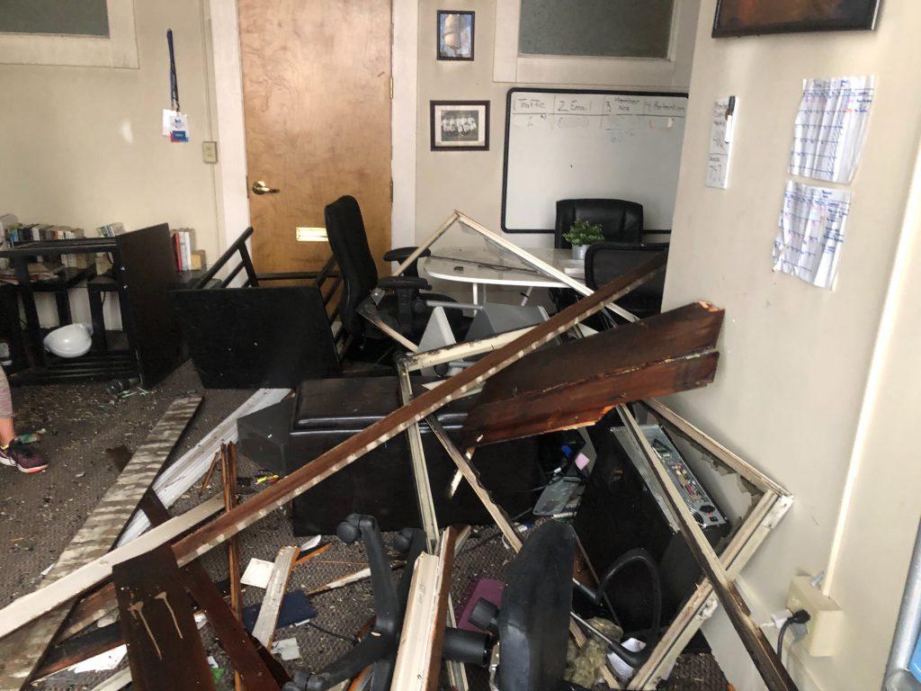 Fire-damaged Urban Milwaukee office. Photo by Jeramey Jannene.