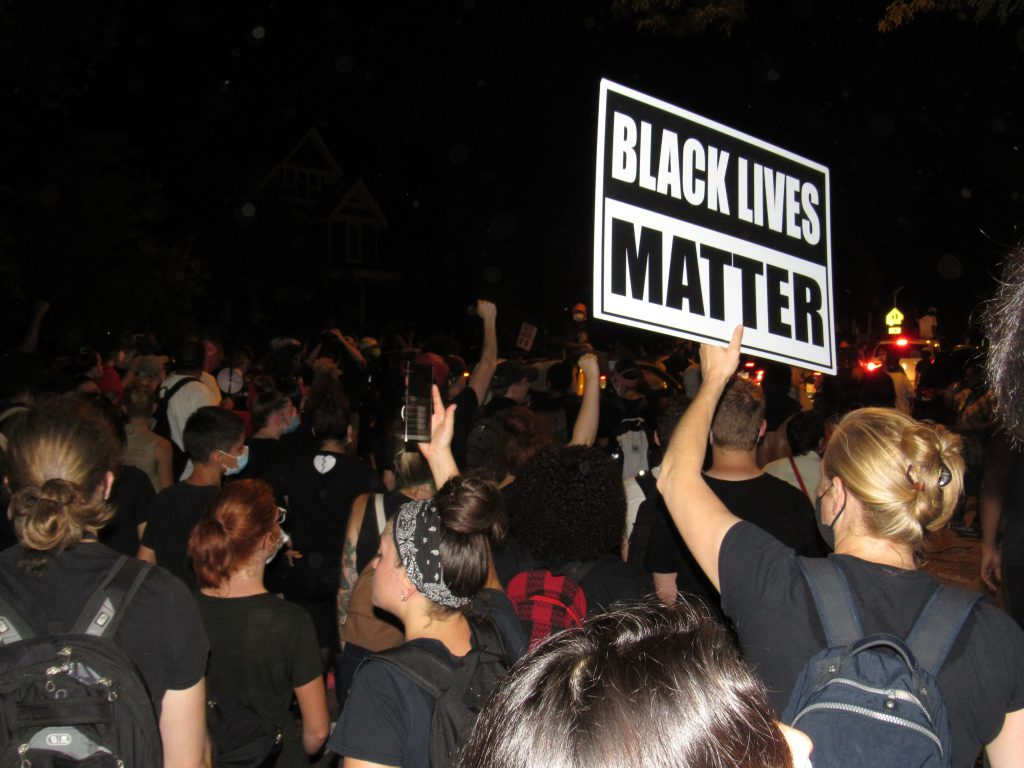 Protesters gather in Kenosha the second night of protests on August 24th, 2020. This was before the clashes with police later that night. Photo by Isiah Holmes/Wisconsin Examiner.