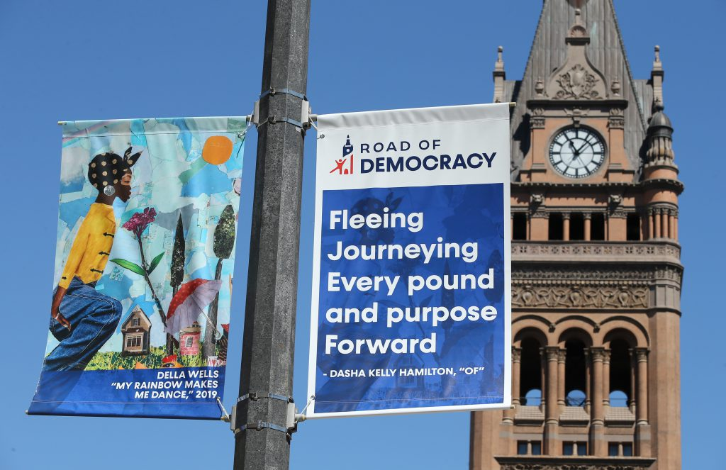 """""""Road of Democracy"""" banners. Photo by Pat A. Robinson."""