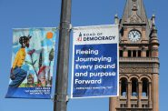 """Road of Democracy"" banners. Photo by Pat A. Robinson."