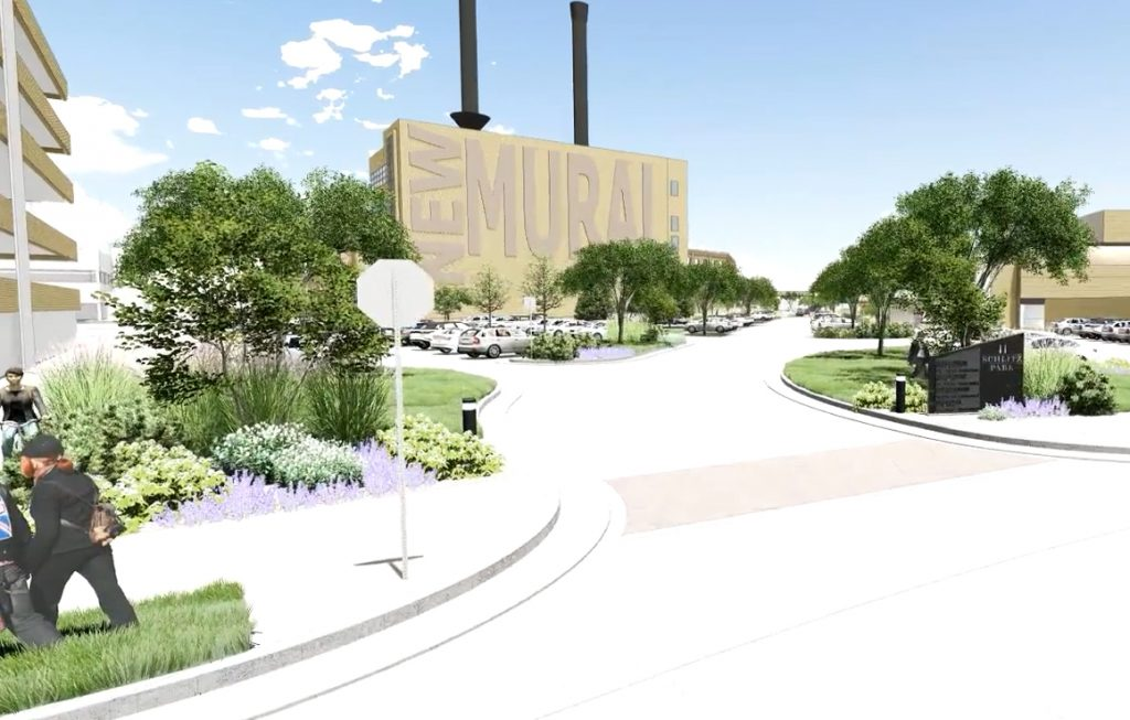 Schlitz Powerhouse mural site. Rendering by RINKA.