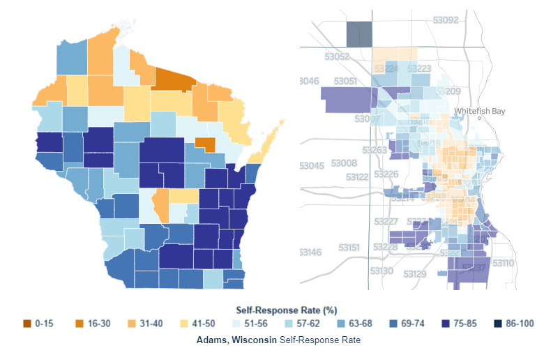 Census response rates in Wisconsin and Milwaukee. Images from the US Census Bureau.